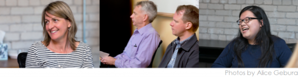 Staffing resource - Three photos of Fredrickson Employees participating in a meeting