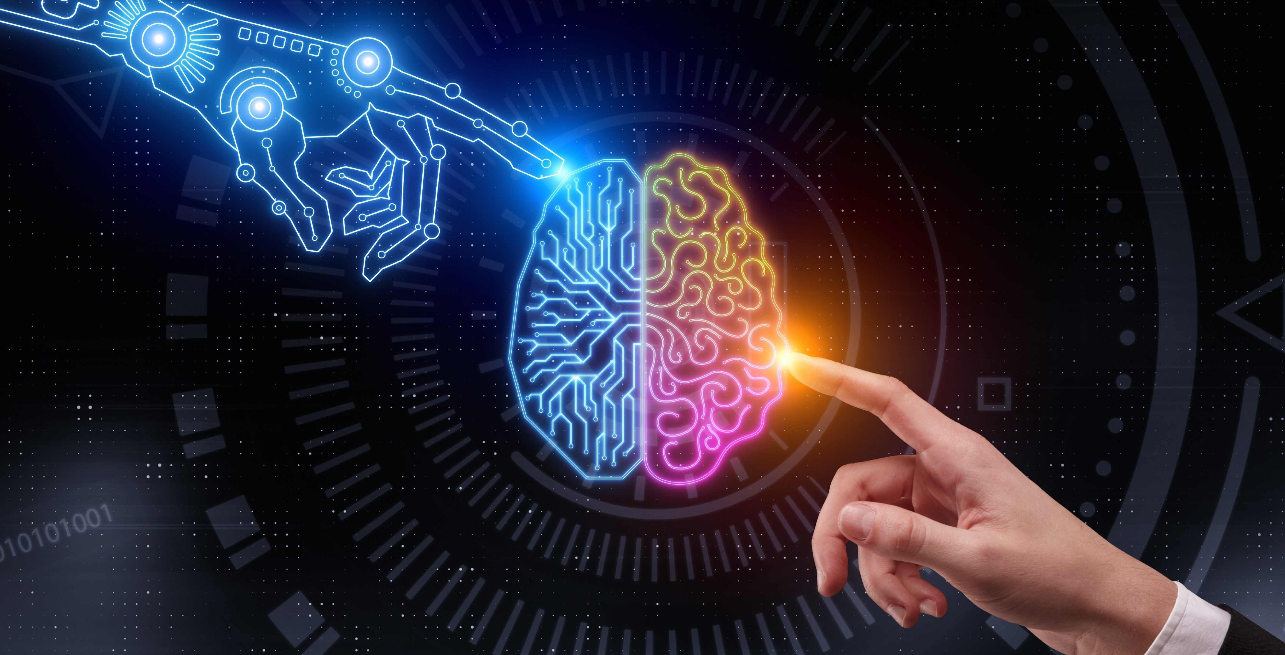 Hand pointing at glowing digital brain. Artificial intelligence and future concept. 3D Rendering